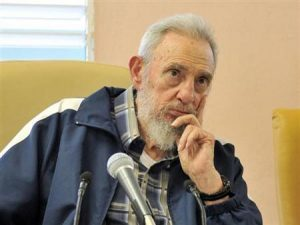 Former Cuban leader Fidel Castro sits at inauguration of the ´Vilma Espin Guillois´ school in Havana