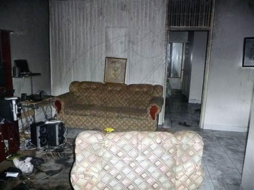 Rhyno's firebombed house