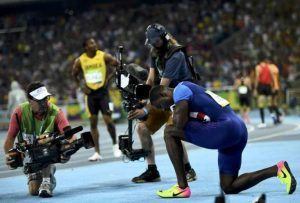 2016 Rio Olympics - Athletics - Final - Men's 100m Final - Olympic Stadium - Rio de Janeiro, Brazil  14/08/2016. Justin Gatlin (USA) of USA reacts after the race     REUTERS/Dylan Martinez