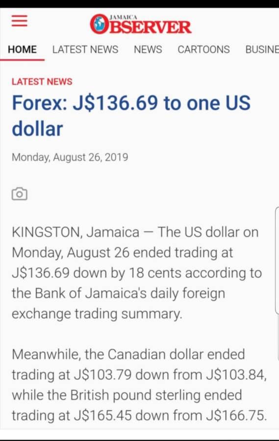 Forex Rates Jamaica Trading